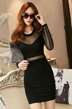 King & Ace │ Korean Fashion Mesh Panel Bodycon Dress - D-11438