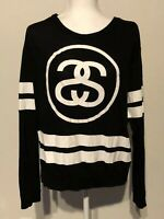 STUSSY SS Link Logo Black & White Women Medium Light Pullover Long sleeves Top