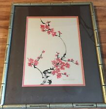 "Vintage Original Japanese Art Water Color on Silk ""Cherry Blossoms� Coa Signed"