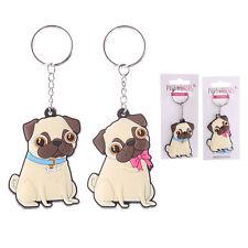 Cute Pug PVC Keyring - Pink or Blue Novelty Gift BNIP