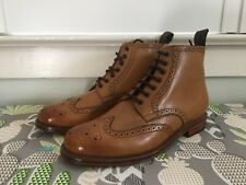 New Grenson Sharp Tan Leather Brogue Wingtip Boots Shoes UK 10 G / US 11 D $320