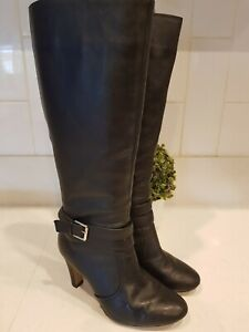 BASQUE SOFT BLACK LEATHER KNEE HIGH BUCKLE BOOTS MYER RRP$189.95 SZ8/39 EUC