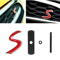 Car 3D Metal Red S Logo Front Grille Emblem Badge Decal for Mini Cooper S New