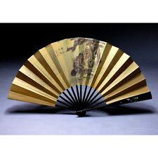 """Chinesischer Fächer """"Hanshan und Shide"""" Wandfächer Klappfächer Stoff auf Holz"""