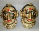 Traditional Indian Ritual Brass Pair Gauri Heads Goddess Parvati Wife God Shiva
