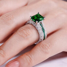 2Ct Radiant Green Emerald Interchangeable Engagement Ring 14K White Gold Finish