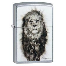 More details for zippo lighter bold lion street chrome lighter designed by steven spazuk