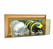Wall Mounted Glass Double Mini Helmet Display Case Walnut Molding Free Shipping