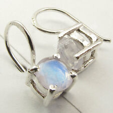925 Silver RAINBOW MOONSTONE Intricate Setting HANDMADE UNUSUAL Earrings 1.6 CM