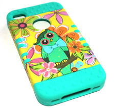 for iPhone 4 4S - Turquoise Green Owl Dual Hybrid Impact Hard & Soft Rubber Case