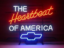 New The Heartbeat of America Real Glass Neon Light Beer Bar Chevrolet Sign 20X16