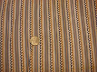 Vintage Cotton Fabric BLUE & GOLD STRIPES & JAGGED STRIPES ON WHITE 1 Yd