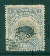 [JSC]STATE OF NORTH BORNEO WILD PIG~ BLUE TEN CENTS~