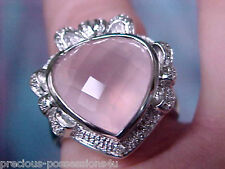 $1,950 SWEETHEART BOWS/HEART 8.4GR 14K BLUSH PINK ROSE QUARTZ DIAMOND RING