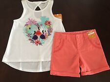 NWT Gymboree Girl Island Girl Sparkle Hula Tank & Coral Shorts Outfit 5 6 7 8