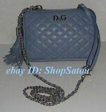 NEW DOLCE & GABBANA LIGHT BLUE LILY GLAM Leather Crossbody Handbag Purse Clutch