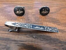 Lovely Siam Sterling  cuff links and tie bar set