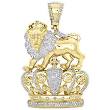 2.00 Ct Round Diamond 14k Yellow Gold Over Crowned Lion Badge King Hat Pendant