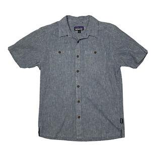 Patagonia Mens Hemp Organic Cotton Striped Short Sleeve Button Down Shirt S