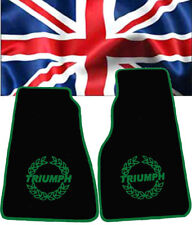 Floormats for Triumph Spitfire Velours black and Logo in green   2-pieces
