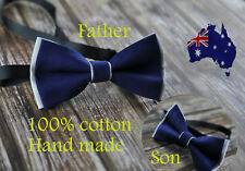 Father Son Match 100% Cotton Handmade Grey and Navy Blue Bow Tie Bowtie Wedding