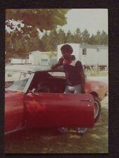 AFRICAN AMERICAN MALE ON CB RADIO NEXT TO 1968 PONTIAC FIREBIRD 1970's PHOTO