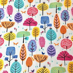Colourful Trees Little Forest  Nursery Waverly Quilting Fabric White FQ