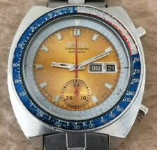 SEIKO POGUE 6139-6002 CHRONOGRAPH GOLD DIAL Stainless Steel 39mm MENS  FEB 1975