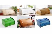 Wooden Bread Box Apollo Roll Top Bin Storage Loaf Kitchen Small Large 24 types