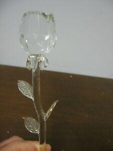 "New Long Stem Roses 13"" Crystal Glass Gold Painted Leaf Tips Handmade Valentine!"