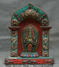 """9"""" Tibet Buddhism Turquoise Coral Silver Gem 1000 Arms Guan Yin Goddess Shrines"""