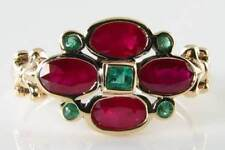 ENGLISH 9K GOLD VINTAGE INSP RICH RUBY & EMERALD RING