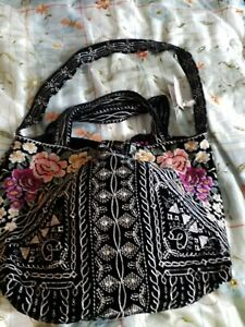GORGEOUS Johnny Was Black Velvet Embroidered Tote Bag New With Tags NWT