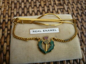 VINTAGE 1960,S GENTS TIE CLIP & CHAIN SCOTTISH ENAMEL THISTLE AND GOLD