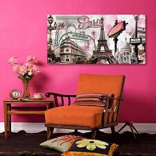 "Painting Wooden Framed Pink Paris Canvas Print Living Room Wall Art Decor 24x47"""