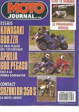 MOTO JOURNAL N°938 KAWASAKI 600 ZZR / SUZUKI DRS 350 / APRILIA 600 PEGASO
