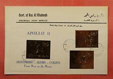 1969 RAS AL KHAIMA FDC JFK SPACE APOLLO 11 GOLD FOIL PERF + IMPERF + S/S