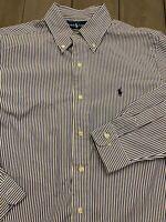 Polo Ralph Lauren Button Down Classic Fit Shirt Men's 15.5 32/33 M Blue stripe
