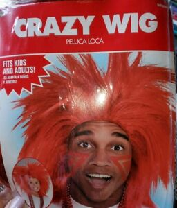 RED Crazy Wig - Parties & Dress-Up! Fits Kids & Adults