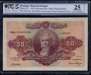 PORTUGAL  50 ESCUDOS 1920  CHAPA 1  PICK # 123  PCGS 25  VERY FINE.