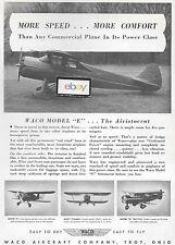 WACO AIRCRAFT 1940 MORE SPEED & COMFORT WACO MODEL E ARISTOCRAT AD