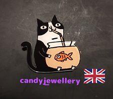 Funky Tabby Black Cat Drinking Fish Tank Kitsch Quirky Acrylic Pin Brooch