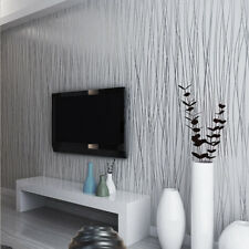 Grey White Silver Luxury Modern Wall Paper Stripe Striped Wallpaper Embossed 10M