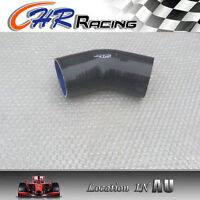 """Silicone Joiner 45 Degree Bend Elbow Radiator Hose 102mm 4"""" Silicon Pipe BLACK"""