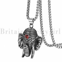 """Vintage Stainless Steel Trible Elephant with Red CZ Pendant Necklace for Men 22"""""""