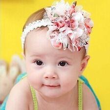 Newborn Toddler Baby Girl Lace Flower Headband Soft Elastic Hairband Headwear UK