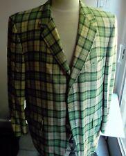 COVE Shop for Men 100% Cashmere Plaid Blazer SZ 44 Made in USA Green/Cream