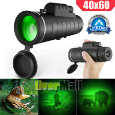 Day Night 40X60 Monocular Bak-4 Hd High Power Hunting Hiking Camping Telescope