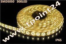 STRISCIA LED 5mt SMD5050 300 led COLORE BIANCO CALDO IMPERMEABILE