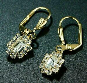 2 Ct Emerald Cut Diamond Drop/Dangle Lever Back Earrings 14K Yellow Gold Finish